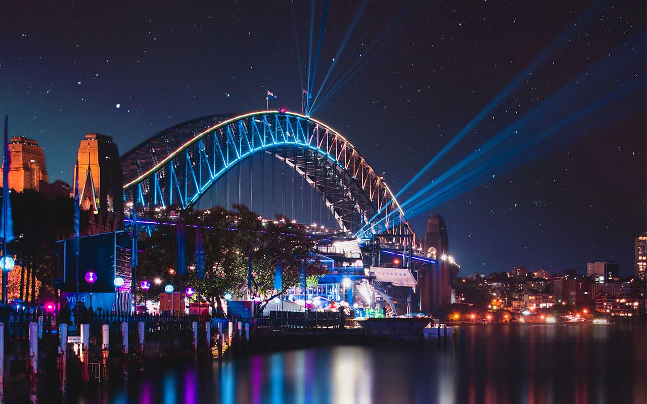 Lights under Sydney Harbour Bridge for Sydney Vivid 2019