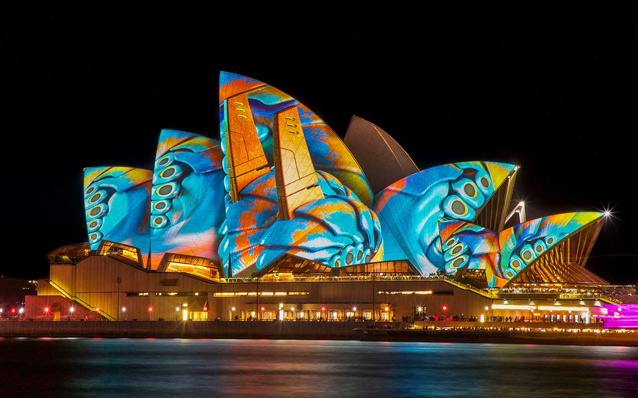 Sydney Opera House illuminated for Vivid light Show